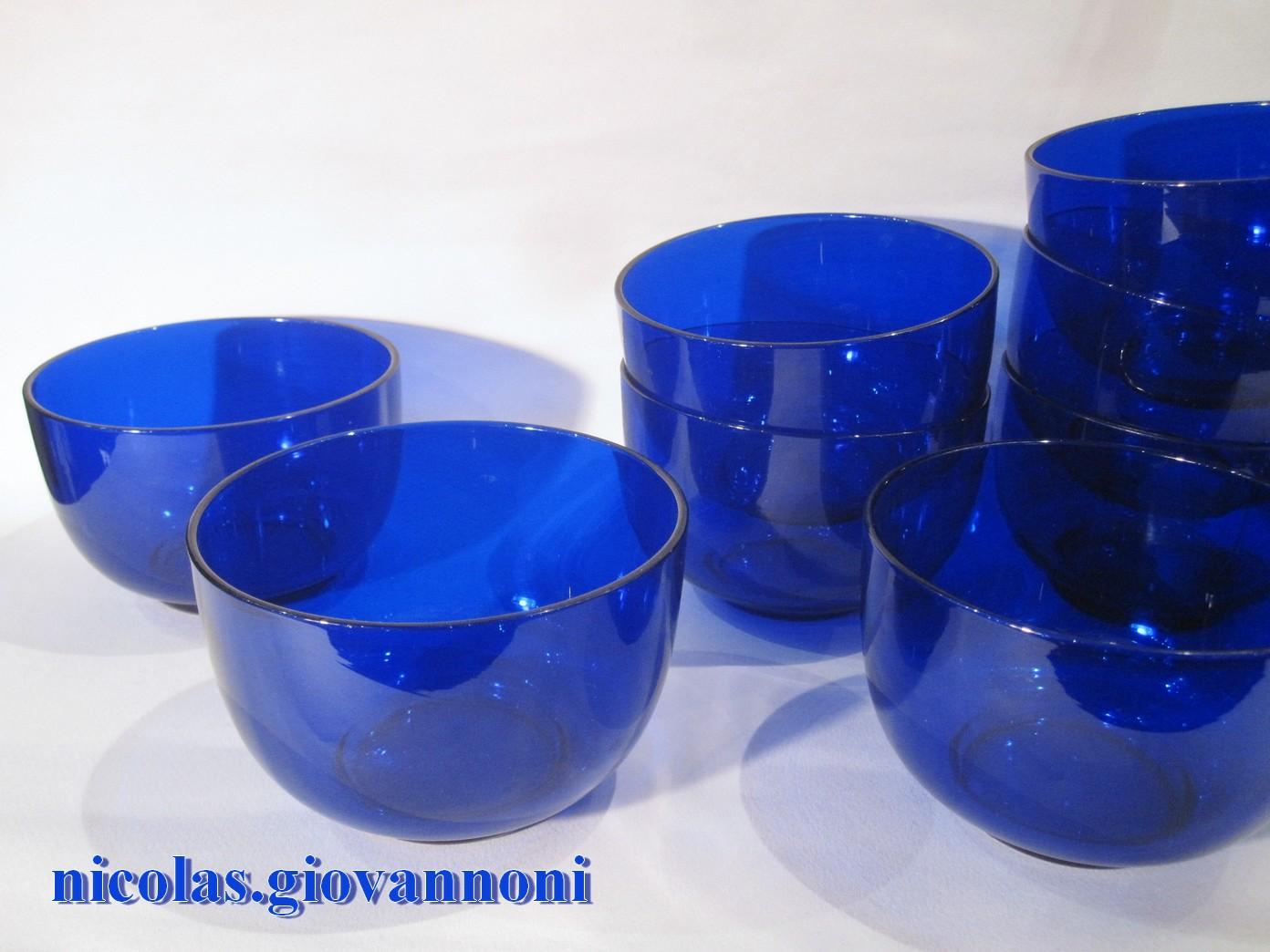 6 Bols Cristal Bleu Baccarat Accessoires