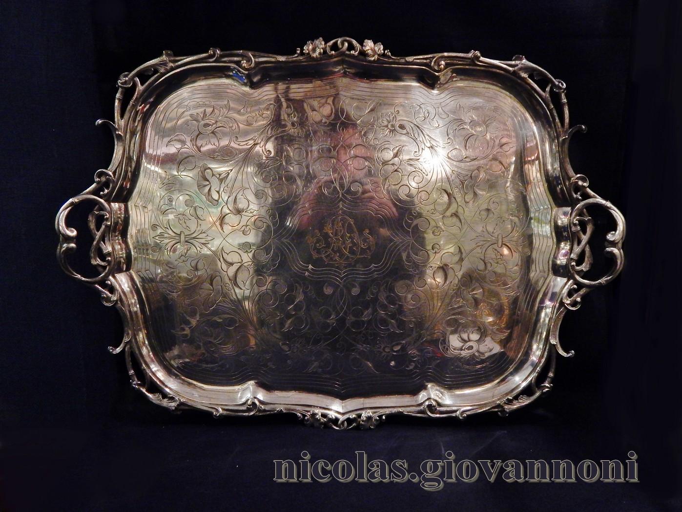 grand plateau m tal argent 1880 christofle orf vrerie catalogue cristal de france. Black Bedroom Furniture Sets. Home Design Ideas