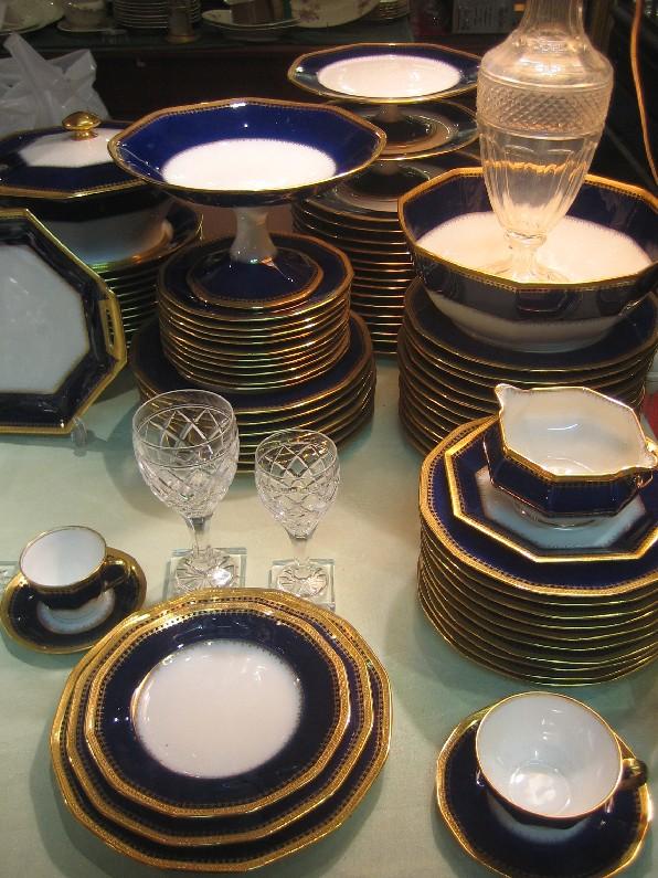 Service de table bleu de four or incrust haviland - Service de table bleu ...