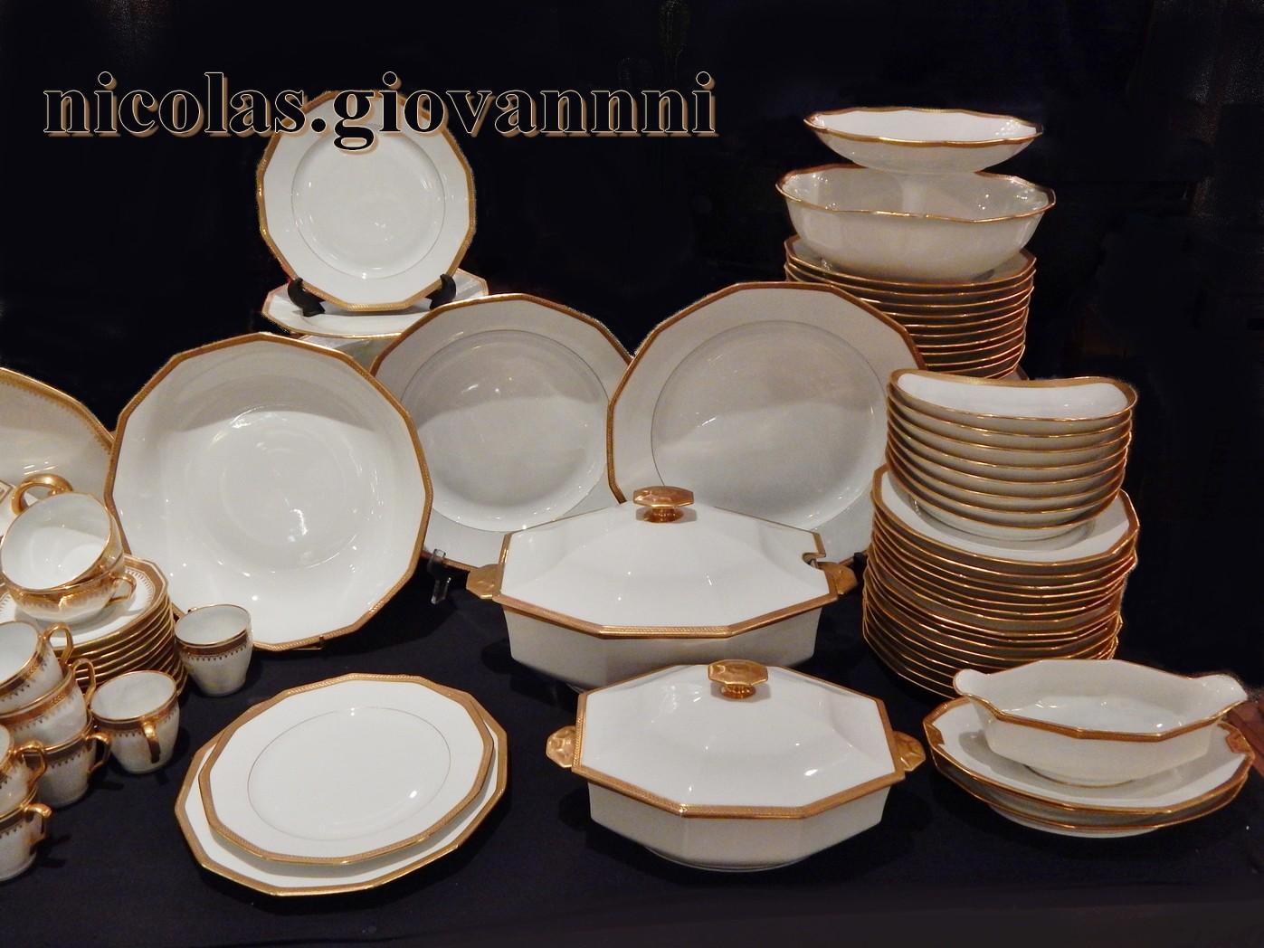 service art deco 98 pi ces laurier or incrust 1930 legrand limoges porcelaine. Black Bedroom Furniture Sets. Home Design Ideas