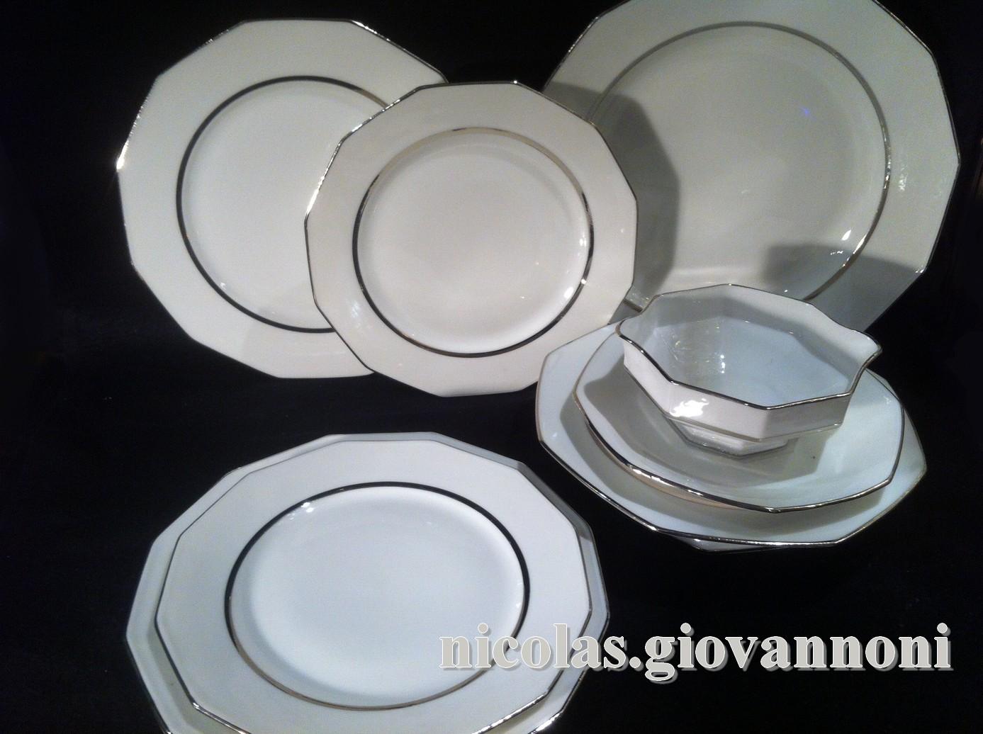 service 64 pi ces filet platine legrand limoges porcelaine catalogue cristal de. Black Bedroom Furniture Sets. Home Design Ideas