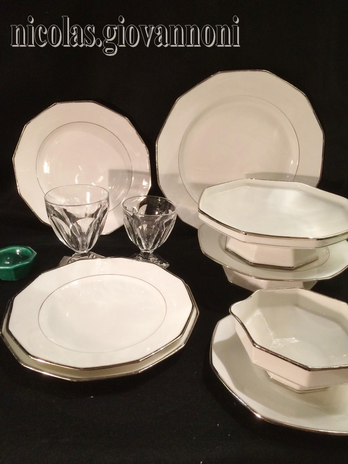 service 52 pi ces filet platine legrand limoges porcelaine catalogue cristal de. Black Bedroom Furniture Sets. Home Design Ideas