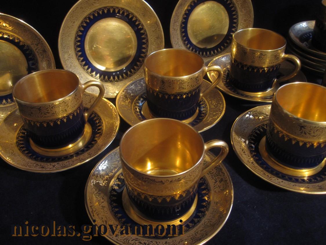 Tasses A Cafe Porcelaine Ancienne Bleu De Four