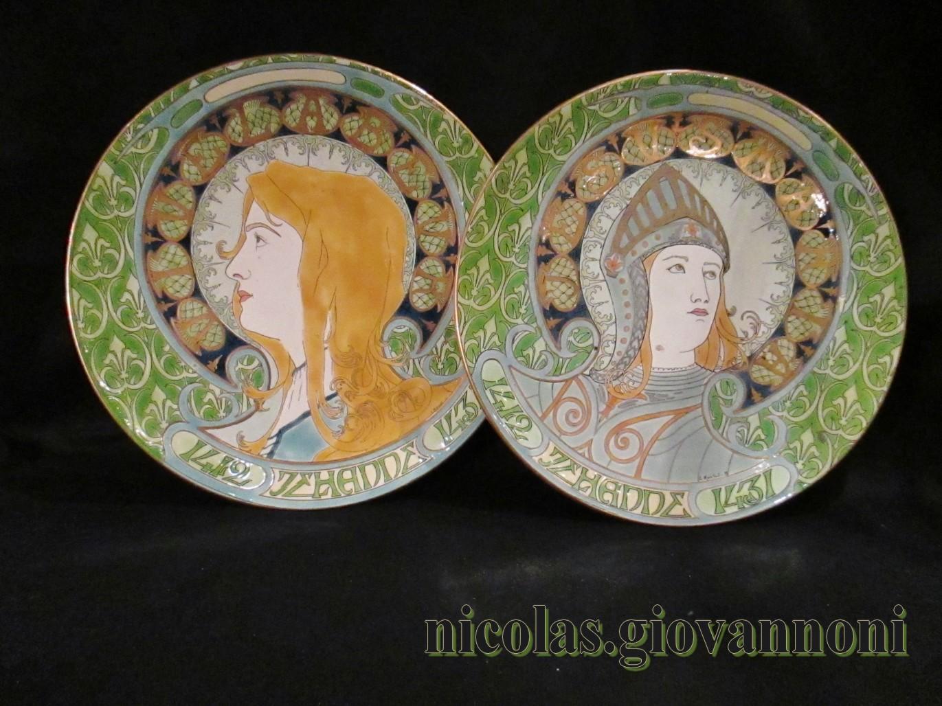 Paire d\'assiettes décoratives - Jeanne d\'Arc - Luneville - Faïence ...