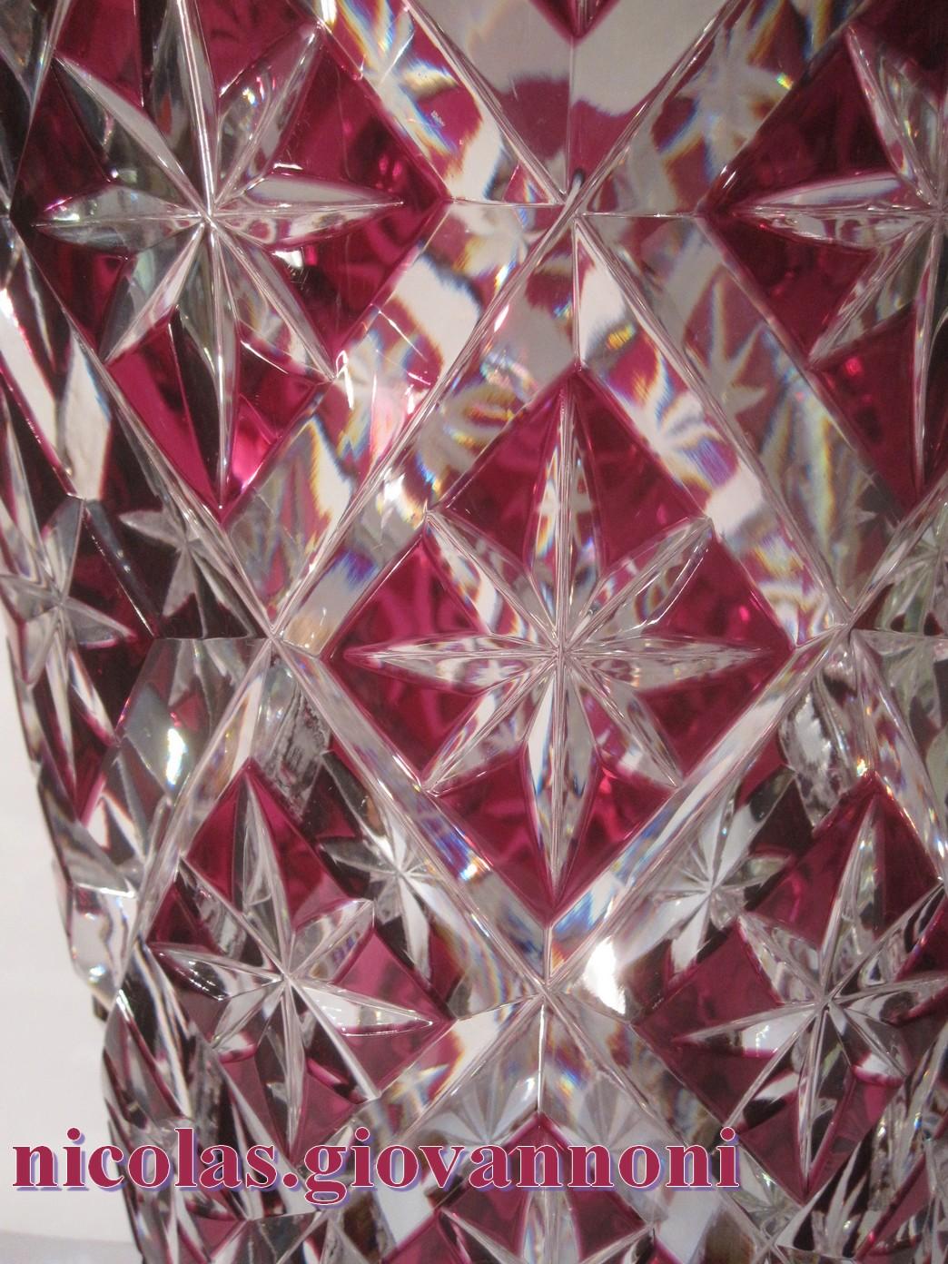 Grand Vase 40 Cm Cristal Rouge Prune Saint Louis