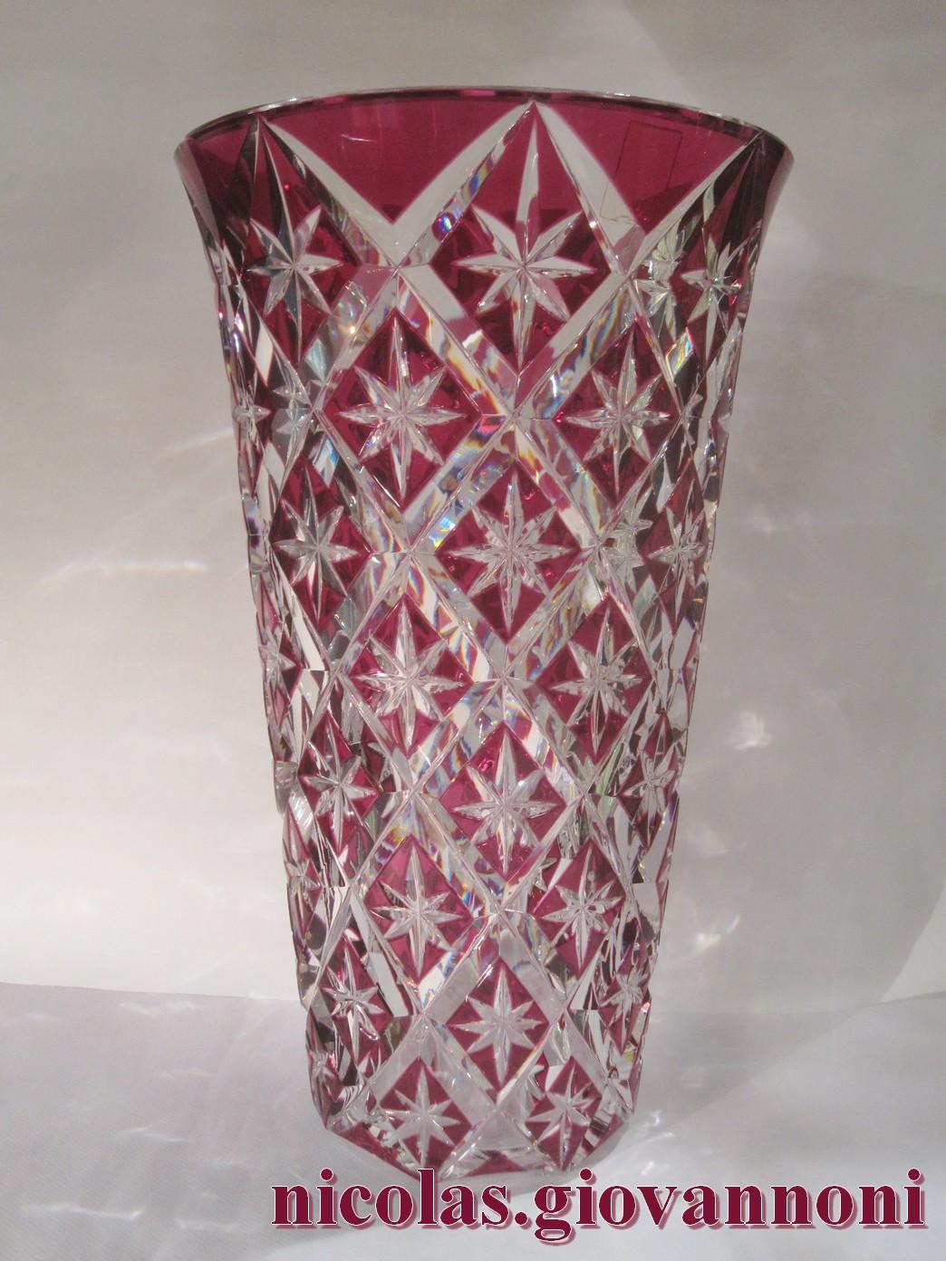 Grand vase 40 cm cristal rouge prune saint louis vases vendu floridaeventfo Image collections